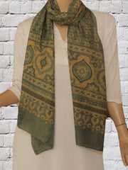 Green With Yellow & Black   Mulberry Silk Stole