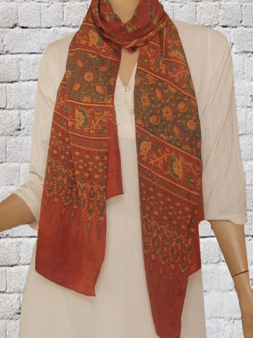 Red With Green Mulberry Silk Stole