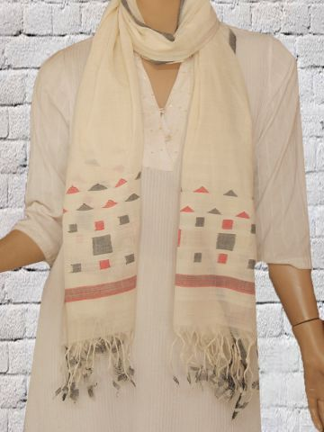 Off White Hand Woven Jamdani Cotton Stole