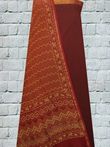 Maroon Hand Woven Cotton Fabric with Block Printed Chanderi Dupatta