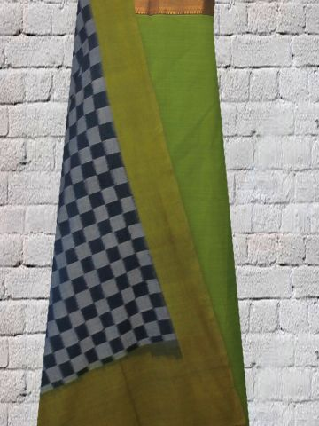 Green Mangalagiri Zari Border Handwoven Cotton Fabric with handwoven Ikat Dupatta