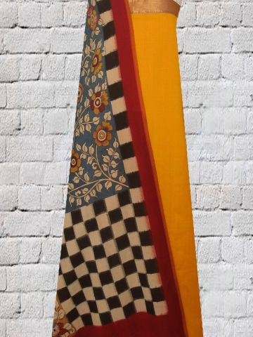 Yellow Zari Border Handwoven Cotton Fabric with Hand Painted Ikat Kalamkari Dupatta