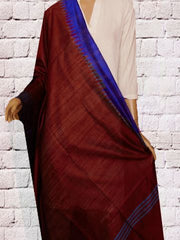 Dark Maroon with Blue Temple Border Silk Dupatta