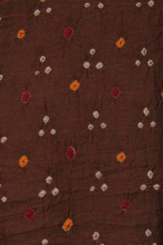 Subdued Brown Bandhini cambric cotton Fabric