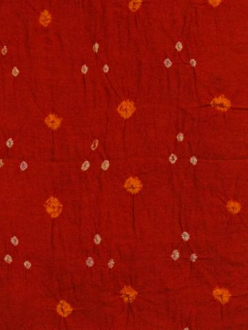 Orange Bandhini cambric cotton Fabric