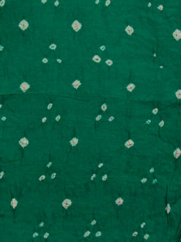 Green with White Bandhini cambric cotton Fabric