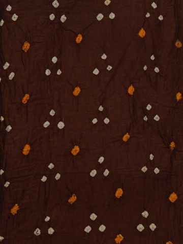 Brown Bandhini cambric cotton Fabric