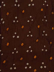 Brown Bandhini cambric cotton Fabric-1.9 m