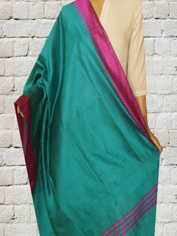 Blue With Pink Temple Border Silk Dupatta