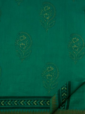 Blue Green Dabu Print Chanderi Saree