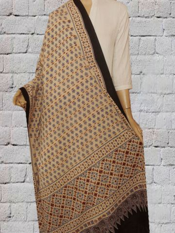 Flower Block Printed Cotton Dupatta