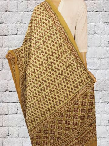Mustard Flower Block Printed Ajrak Cotton Dupatta