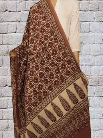 Brown with Maroon block Printed Ajrak  Cotton Dupatta