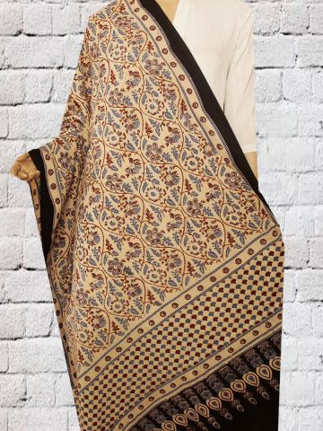 Beige with Maroon Floral Block Printed Ajrak Cotton Dupatta