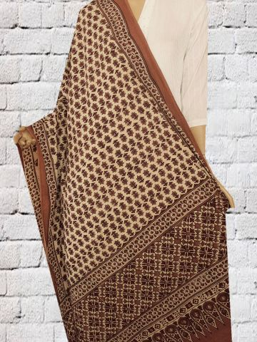 Brown Flower Block Printed Ajrak Cotton Dupatta