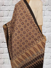 Cream Ajrak Block Printed Cotton Dupatta