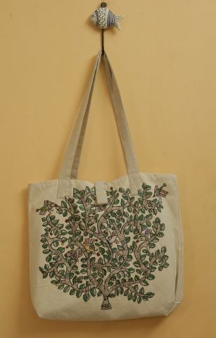 Tree Floral with Peacock  Madhubani Painted Hand Bag