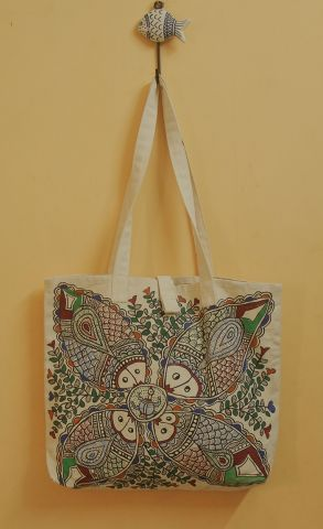 Four Fish Pattern Madhubani Painted Bag