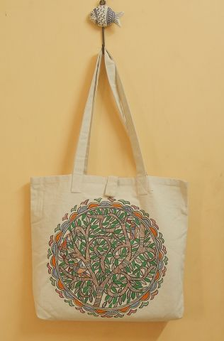 Circles Floral Hand Madhubani Painted Bag
