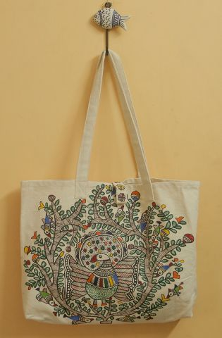 Peacock on Tree Madhubani Painted Bag