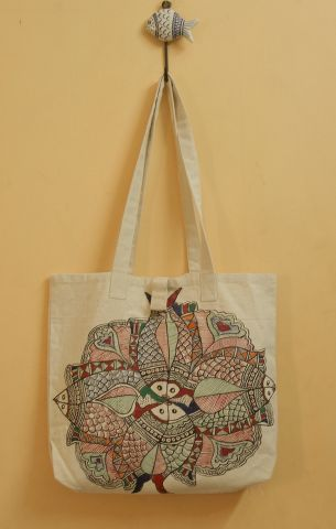 Peacock And Fish Hand Madhubani Painted Bag