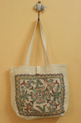 Water in Fish Pattern Madhubani Painted Bag
