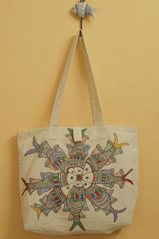 Fours with Floral Hand Madhubani Painted Bag