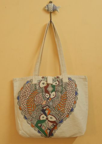 Deers and Fish Hand Madhubani Painted Bag