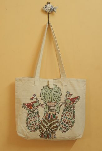 Flower Pot and Peacock Hand Madhubani Painted Bag
