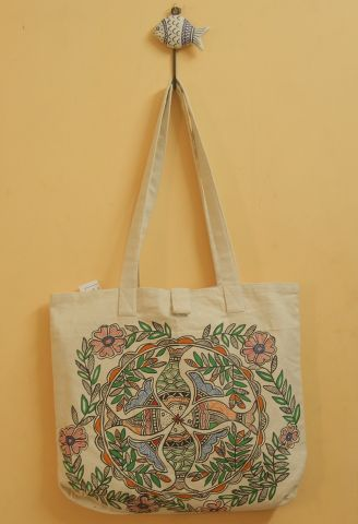 Fish Floral Hand Madhubani Painted Bag