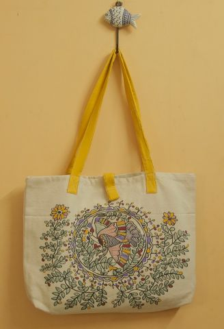 Yellow with Peacock Circles Hand Painted Madhubani Bag