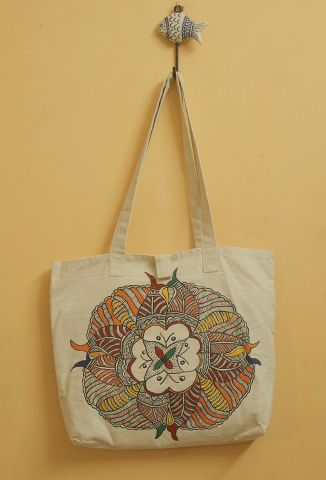 Tree and Peacock Madhubani Painted Bag