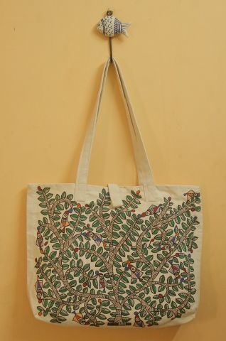 Brown with Green Floral Hand Madhubani Painted Bag