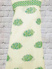 Green Hand Printed Sanganeri Chanderi fabric