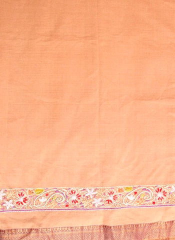 Beige Mangalagiri blouse fabric with Kashmir embroidered border