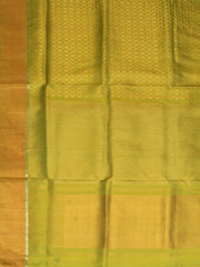 Golden Squares - Neon green handwoven pure silk Saree