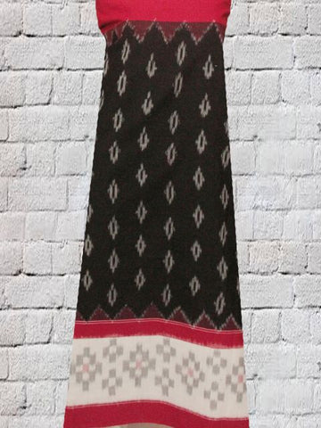 Black with Red Bordered Ikat Fabrirc
