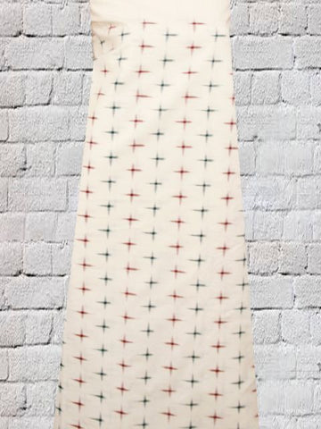 Offwhite Handwoven Double Ikat Fabric
