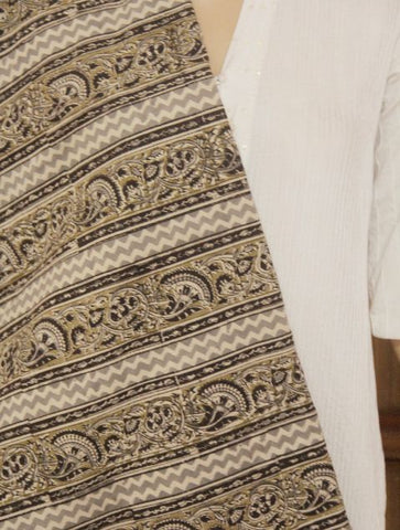 Grey with Olive Kalamkari Lines Block Printed Kalamkari fabric