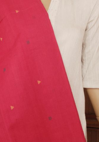 Pink Jamdani Handwoven Khadi Cotton Fabric