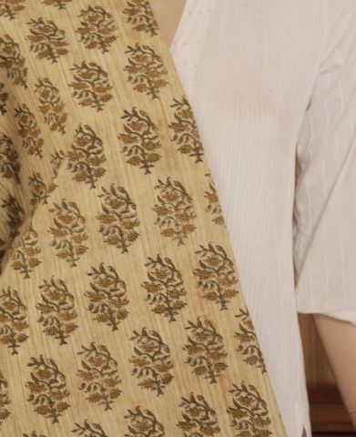 Beige with olive Block Printed Cotton Fabric