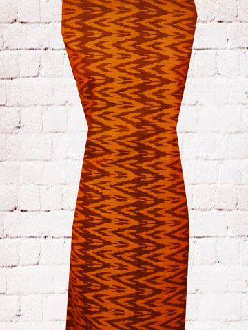 Orange with Brown Fine Ikat Cotton Fabric
