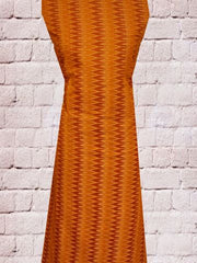 Light Orange with brown - Fine Ikat cotton Fabric