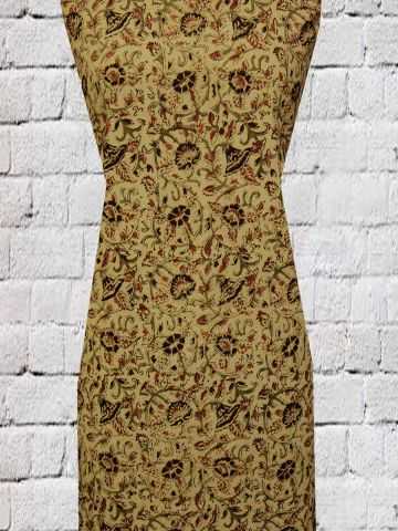 Beige with Green floral kalamkari cotton fabric