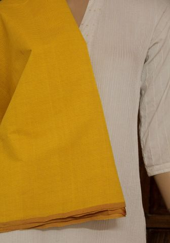 Lemon Yellow Striped Handwoven Cotton Fabric