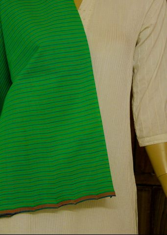 Green Stripes Handwoven Cotton Fabric