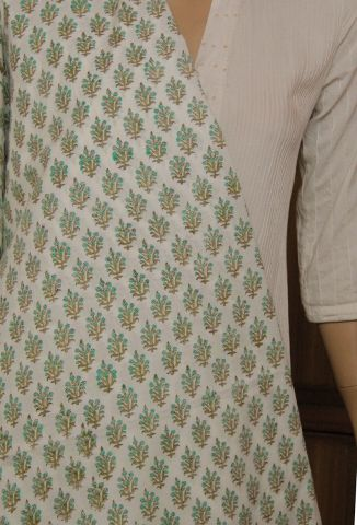 White with Green Block Printed Cotton Fabric