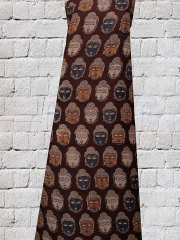 Faces In Maroon - Screen Printed Kalamkari Silk Cotton Fabric