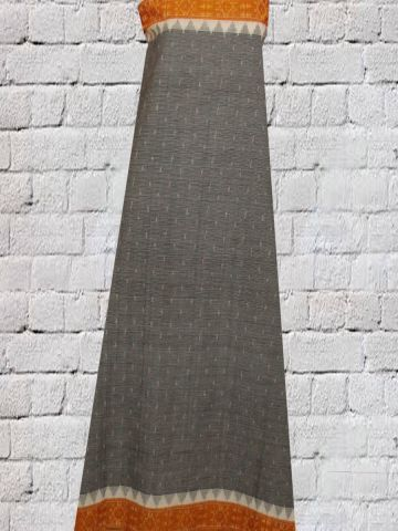 Grey with Yellow Fine Lines Handwoven Ikat Fabric