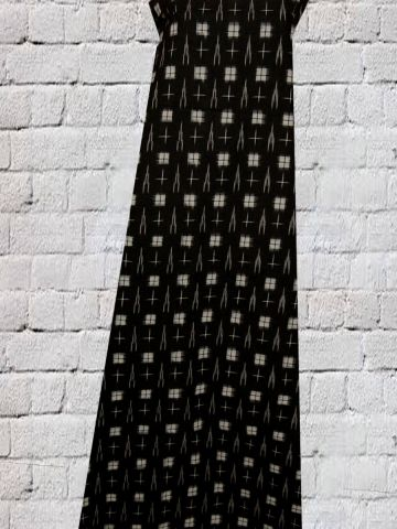 Black with white squares Handwoven Ikat Fabric